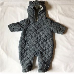Baby Gap Quilted Chambray Snowsuit Size 0-3M